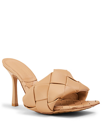 BOTTEGA VENETA The Lido Intrecciato Leather Heeled Mule Sandals Women's Beige