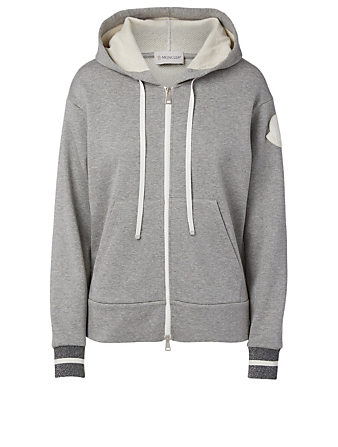 MONCLER Cotton-Blend Zip Hoodie Women's Grey