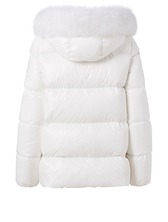 MONCLER Givre Jacket With Fur Hood Women's White