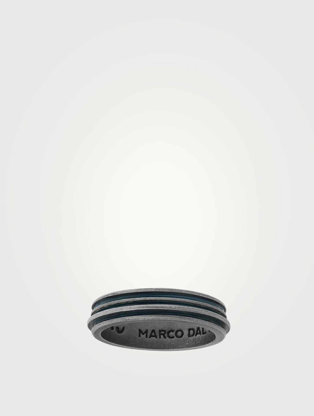 MARCO DAL MASO Acies Single Oxidized Silver Ring Men's Black