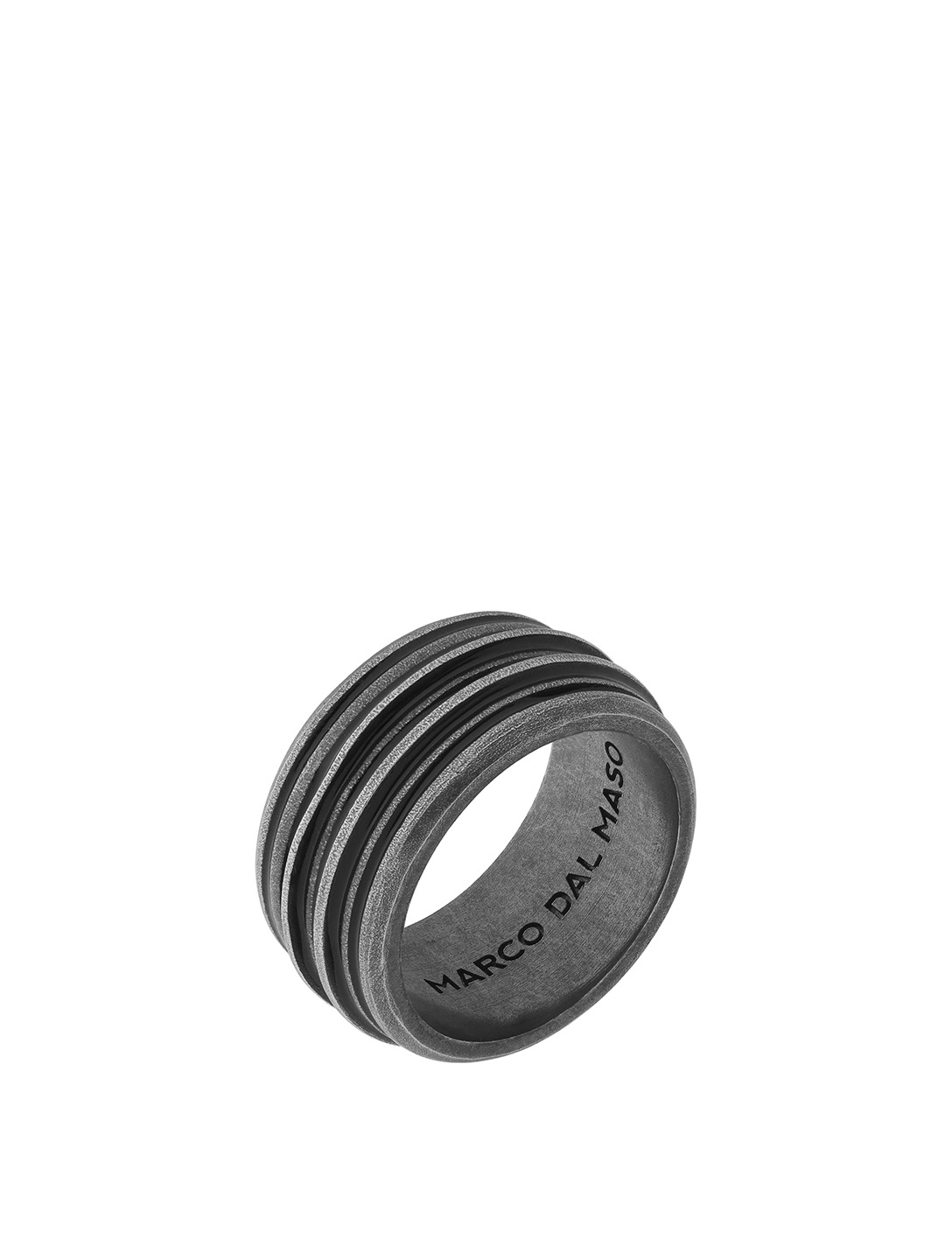 MARCO DAL MASO Acies Double Oxidized Silver Ring Men's Black
