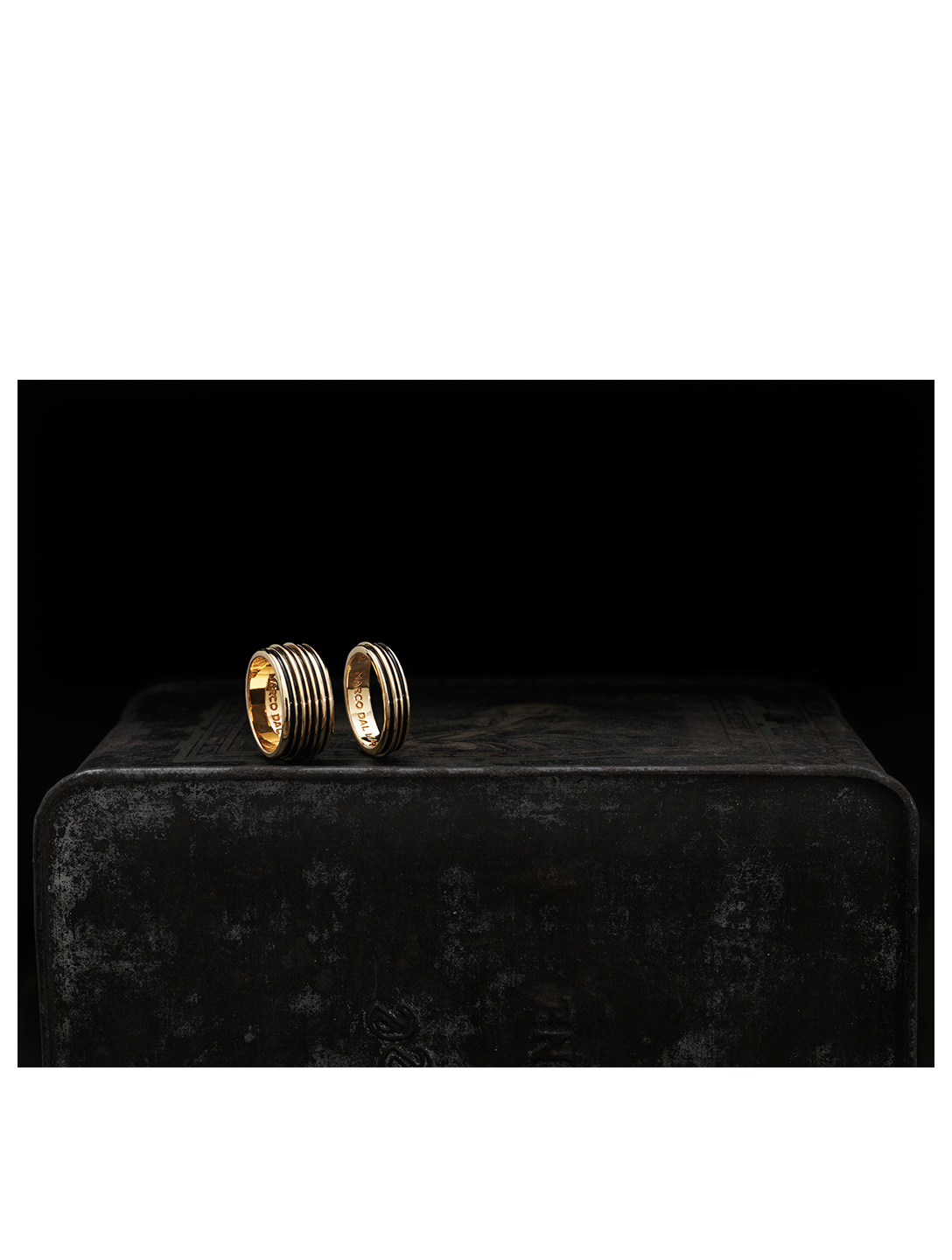 MARCO DAL MASO Acies Double Polished 18K Gold Plated Ring Men's Metallic