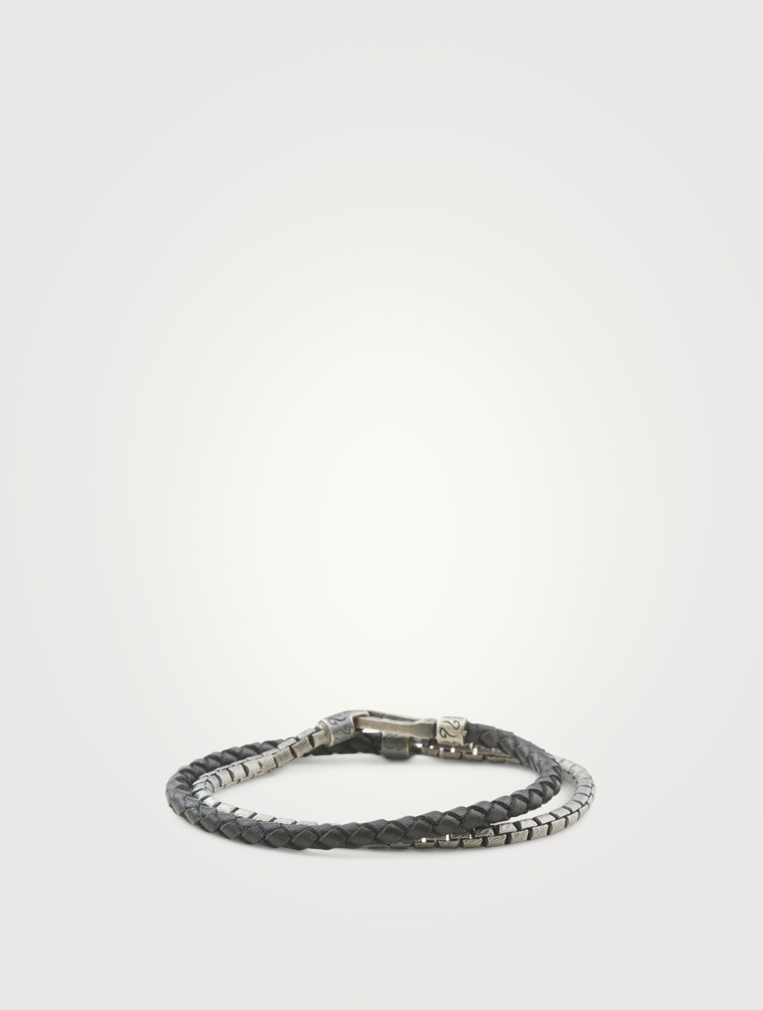 MARCO DAL MASO Lash Double Wrap Chain And Braided Leather Bracelet Men's Black