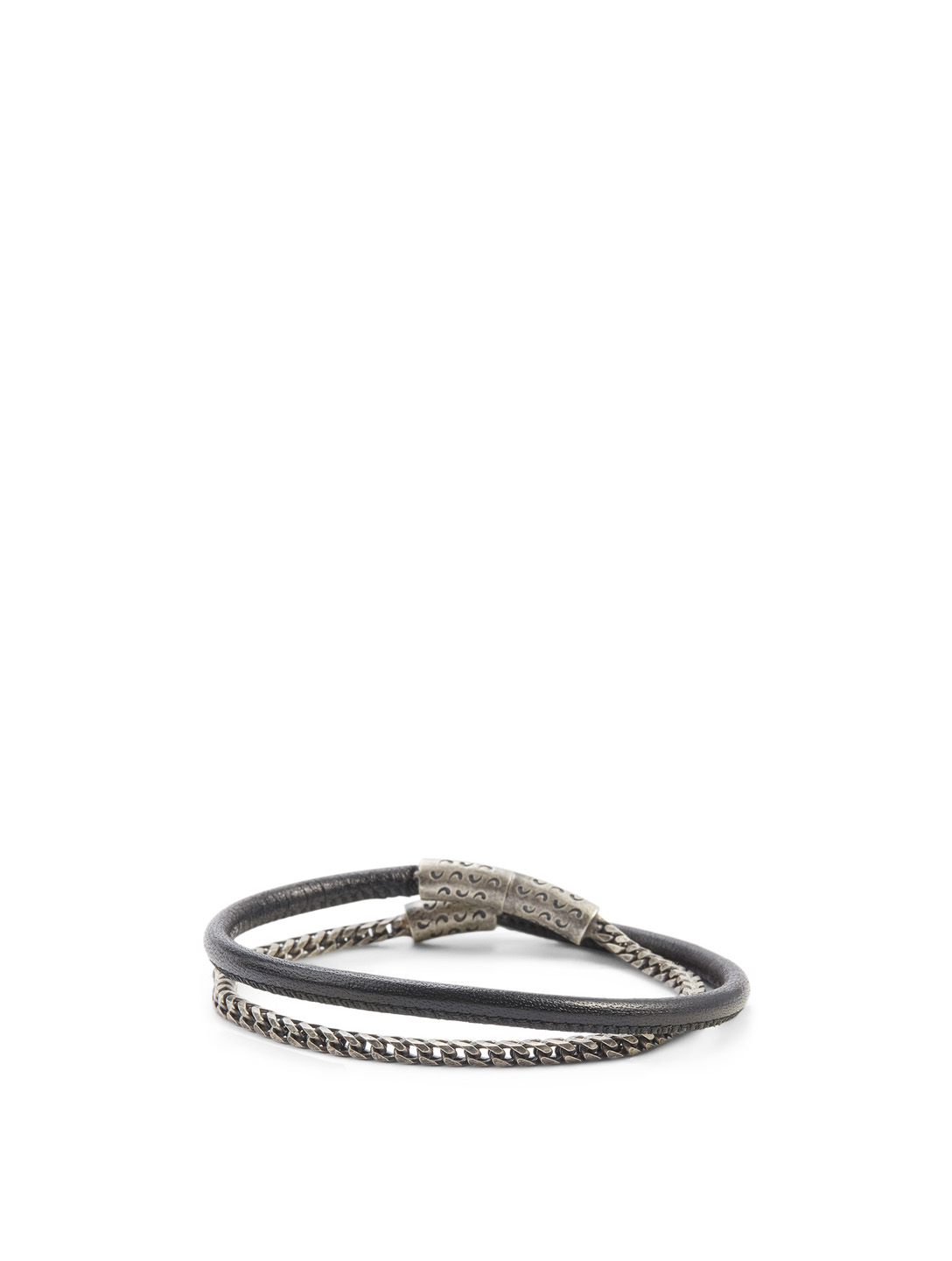 MARCO DAL MASO Lash Double Wrap Silver Chain And Leather Bracelet Men's Black