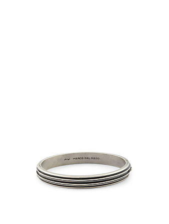 MARCO DAL MASO Acies Double Oxidized Silver Cuff Bracelet Men's Black