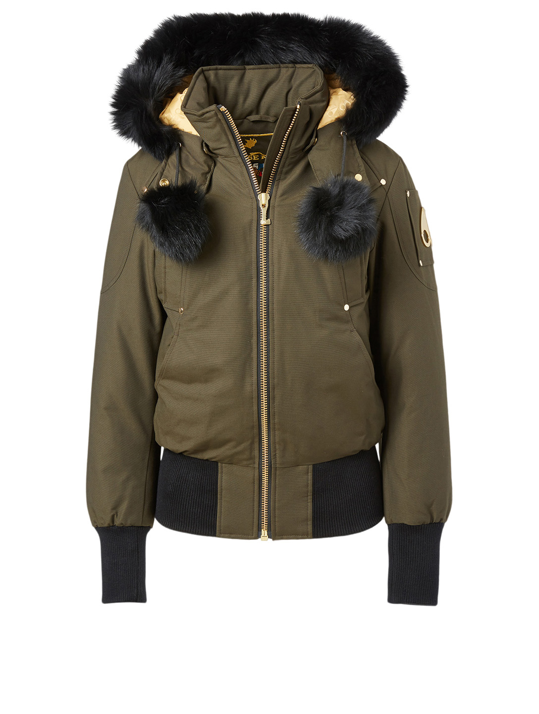 MOOSE KNUCKLES Gold Collection Sainte Flavie Bomber Jacket With Fur Hood Women's Green
