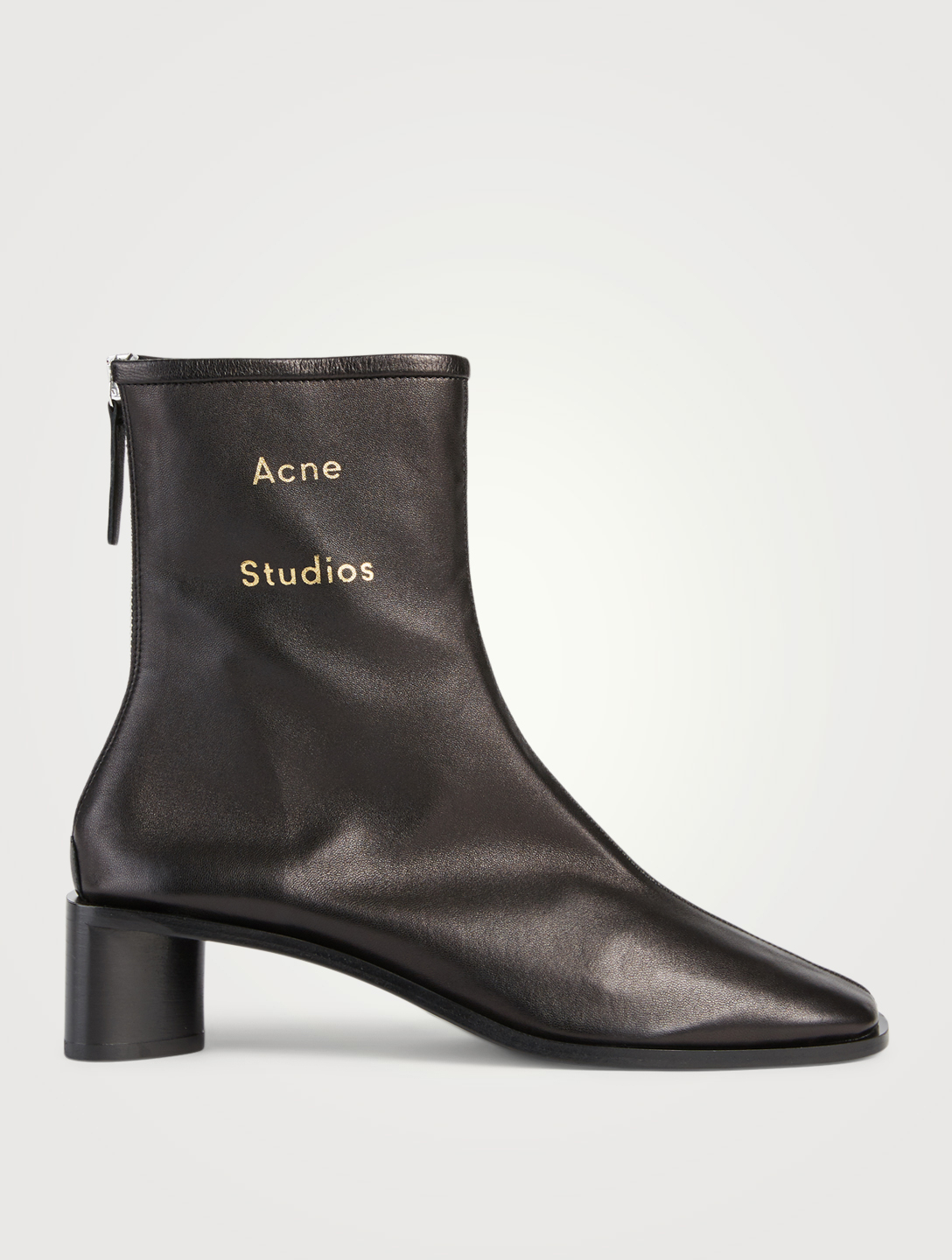 ACNE STUDIOS Leather Logo Heeled Ankle Boots Women's Black