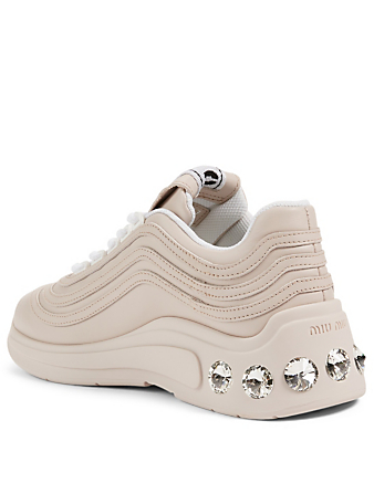MIU MIU Leather Sneakers With Crystals Women's Neutral