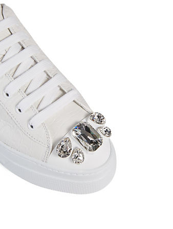 MIU MIU Croc-Embossed Leather Sneakers With Crystal Toe Cap Women's White