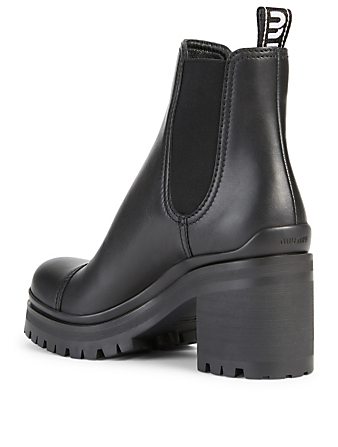 MIU MIU Leather Heeled Ankle Boots Women's Black
