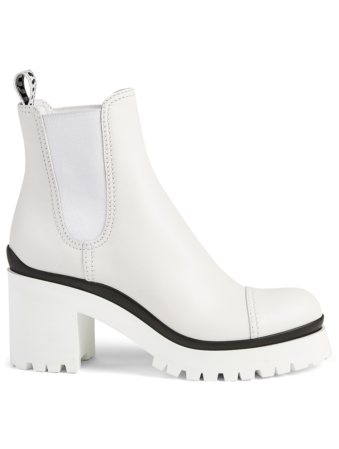 MIU MIU Leather Heeled Ankle Boots Women's White