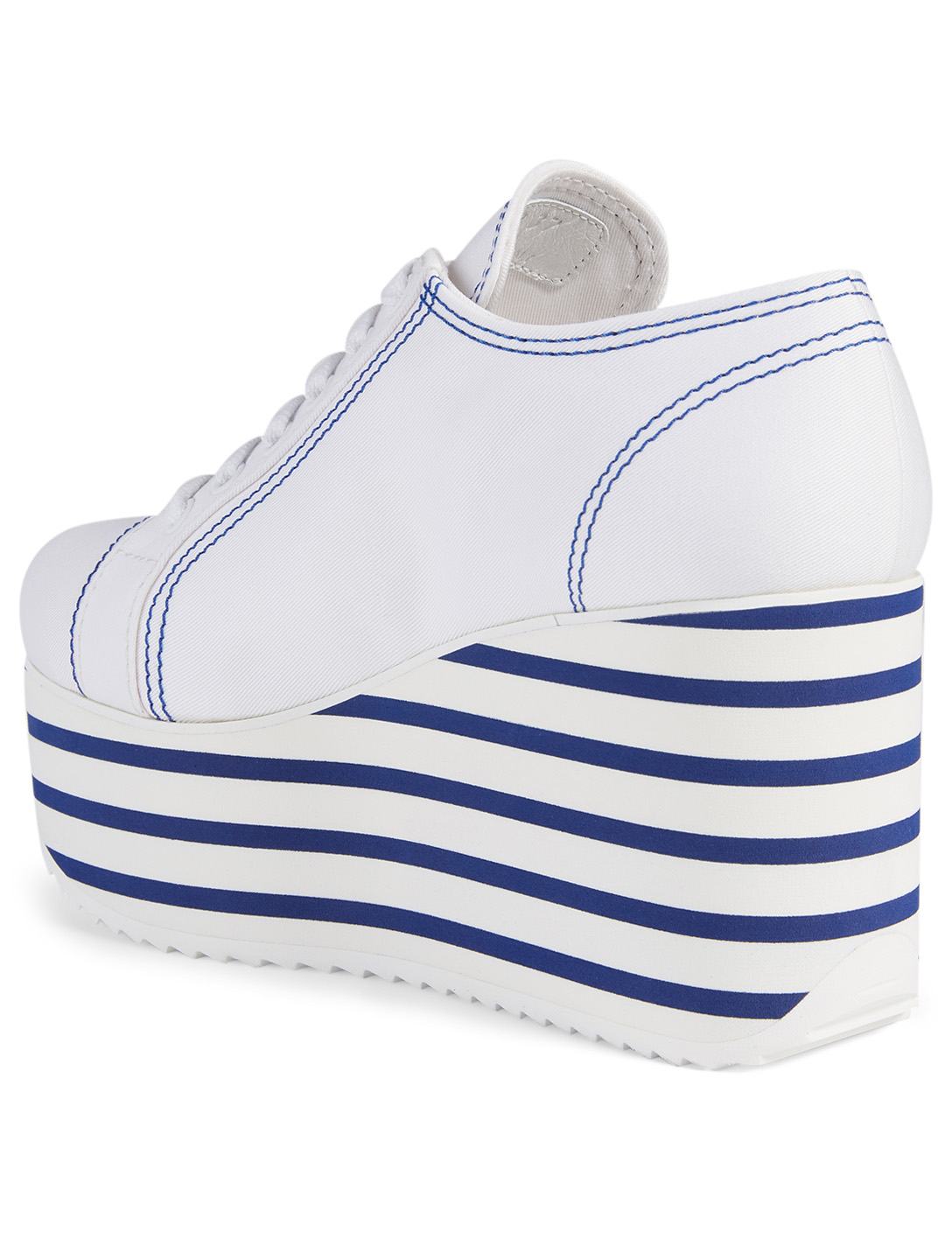 MIU MIU Canvas Platform Sneakers With Striped Sole Women's White