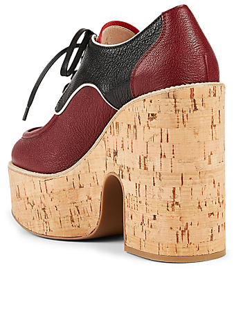 MIU MIU Madras Leather Lace-Up Platform Shoes Women's Red