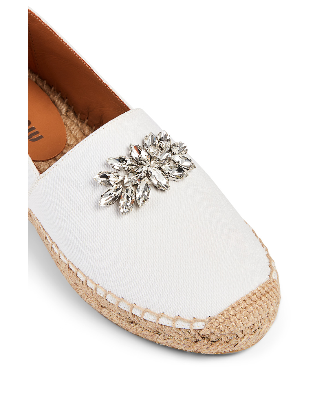 MIU MIU Denim Espadrilles With Crystal Women's White