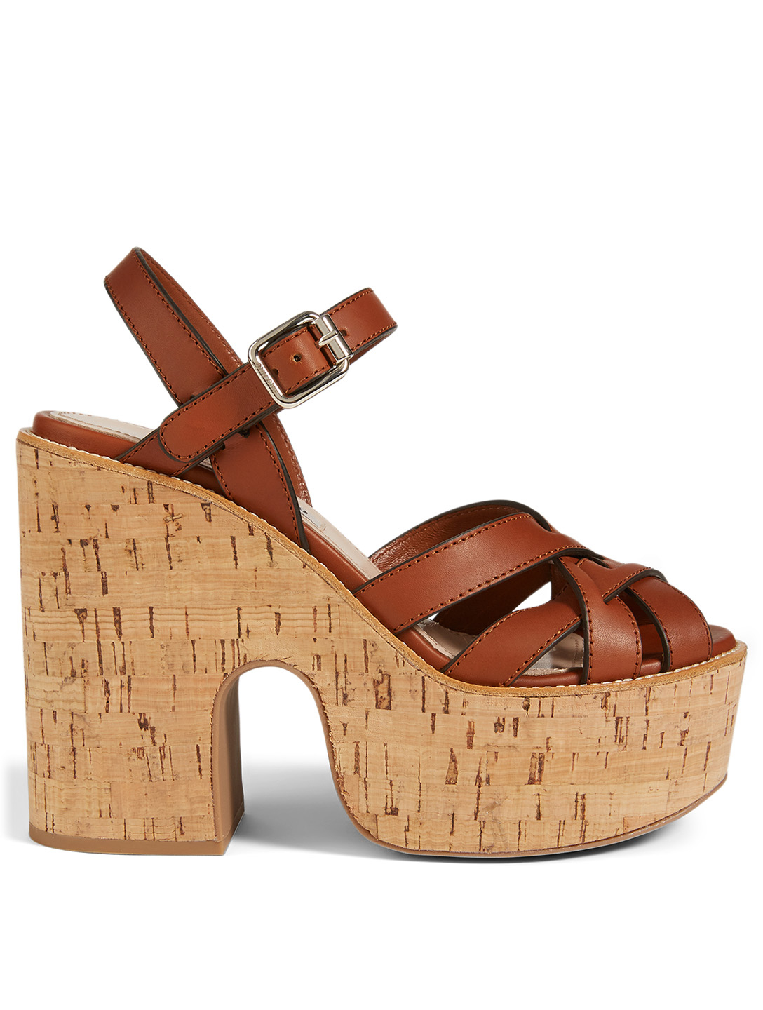 MIU MIU Leather Platform Sandals Women's Brown