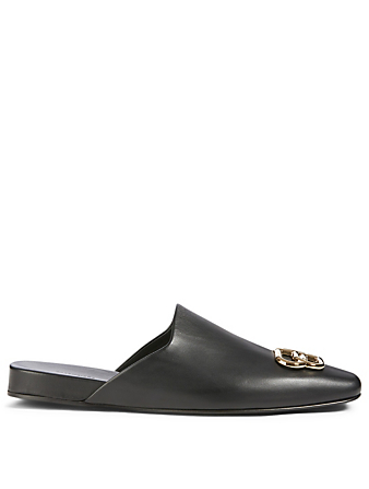 BALENCIAGA Cosy BB Leather Flat Mules Women's Black