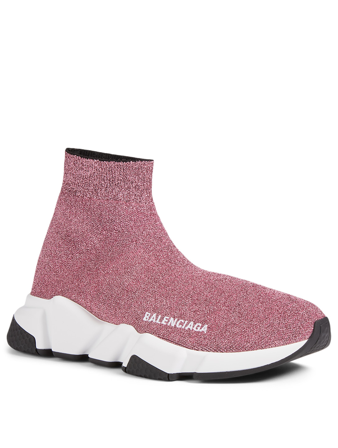 BALENCIAGA Speed Sparkle Knit High-Top Sock Sneakers Women's Pink