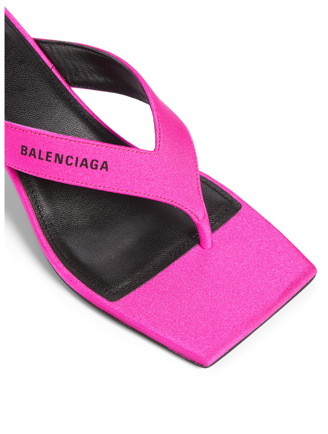 BALENCIAGA Double Square Spandex Heeled Flip-Flop Sandals Women's Pink