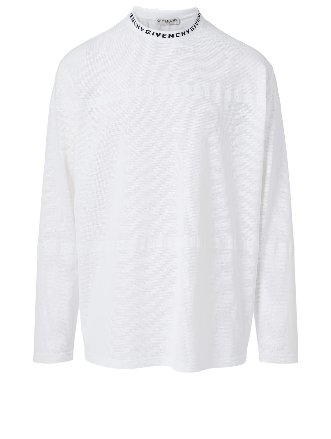 GIVENCHY Long-Sleeve T-Shirt With Intarsia Neck Men's White