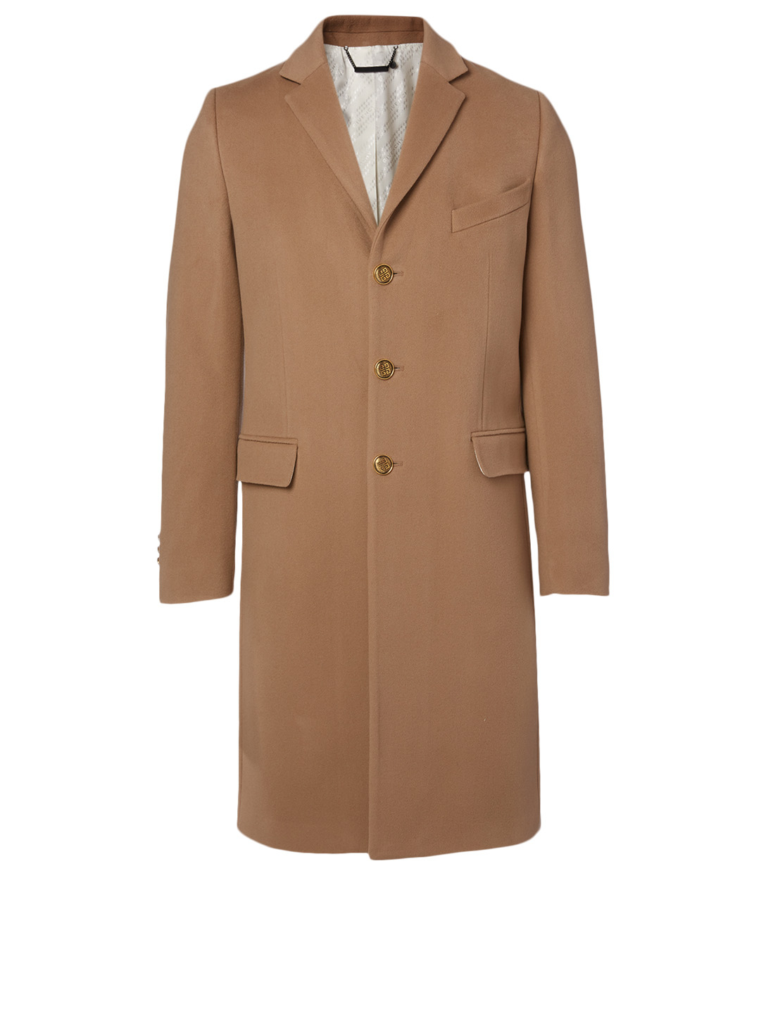 GIVENCHY Wool And Cashmere Coat With 4G Buttons Men's Beige