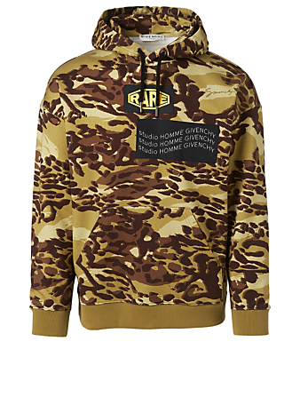GIVENCHY Spirit Hoodie In Cheetah Camouflage Print Men's Beige