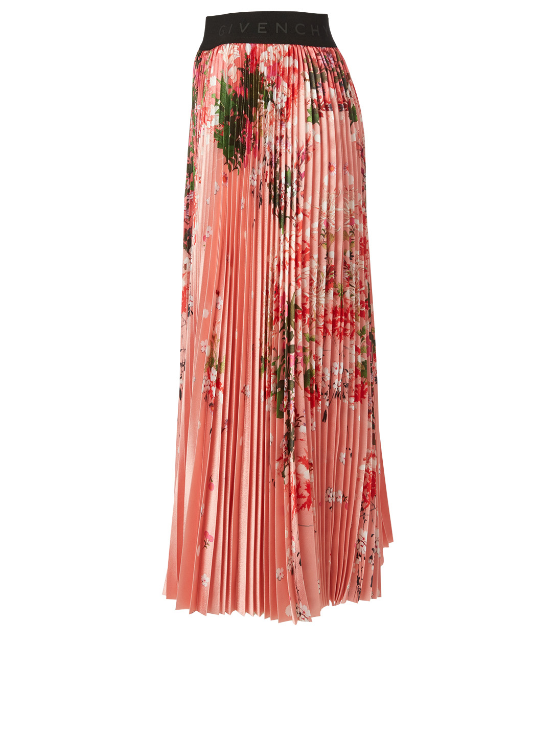 GIVENCHY Pleated Midi Skirt In Floral Print Women's Pink