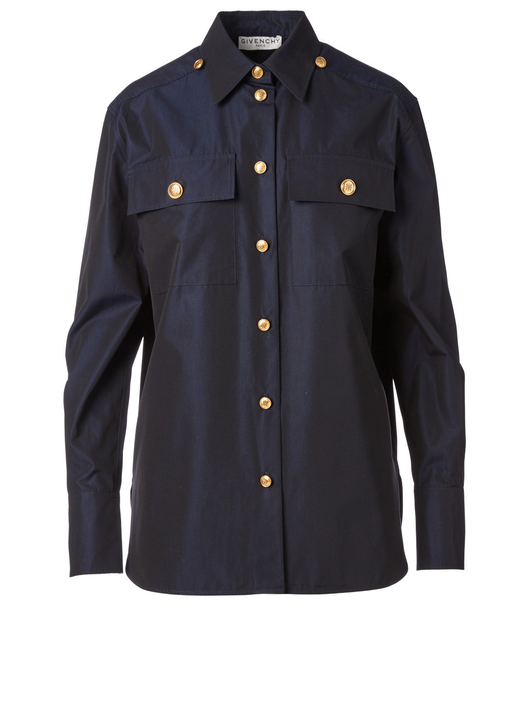 GIVENCHY Poplin Shirt With 4G Buttons Women's Blue
