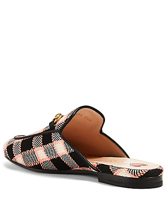 GUCCI Princetown Tweed Slippers In Check Women's Multi