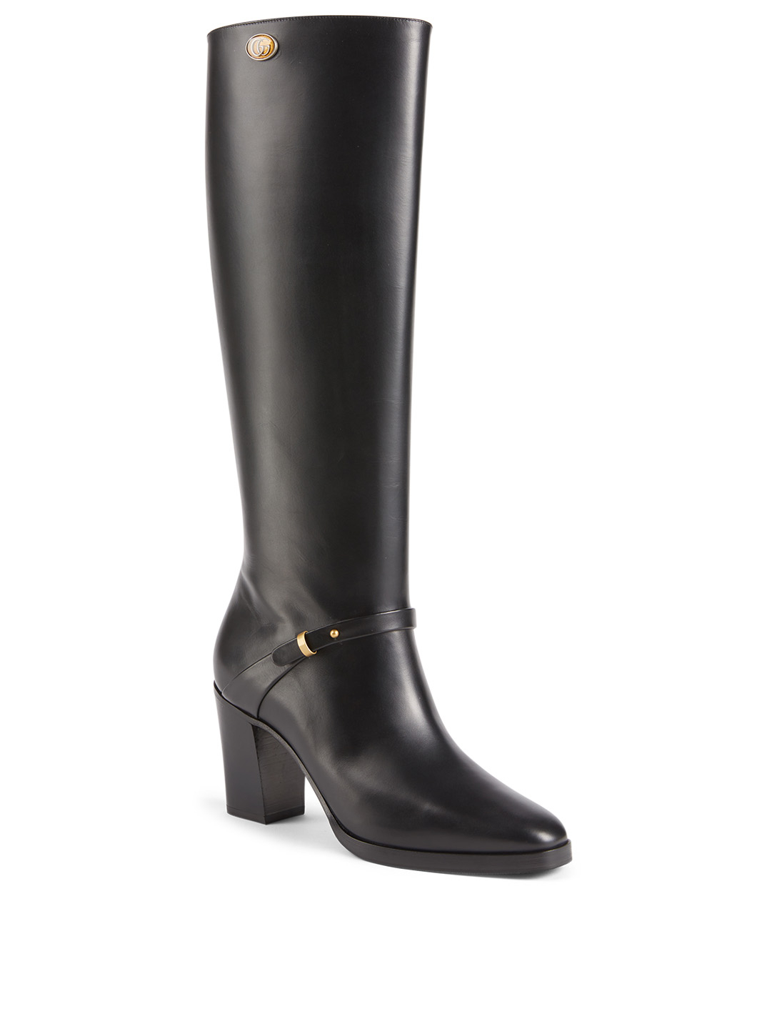 GUCCI Leather Knee-High Boots With Double G Women's Black