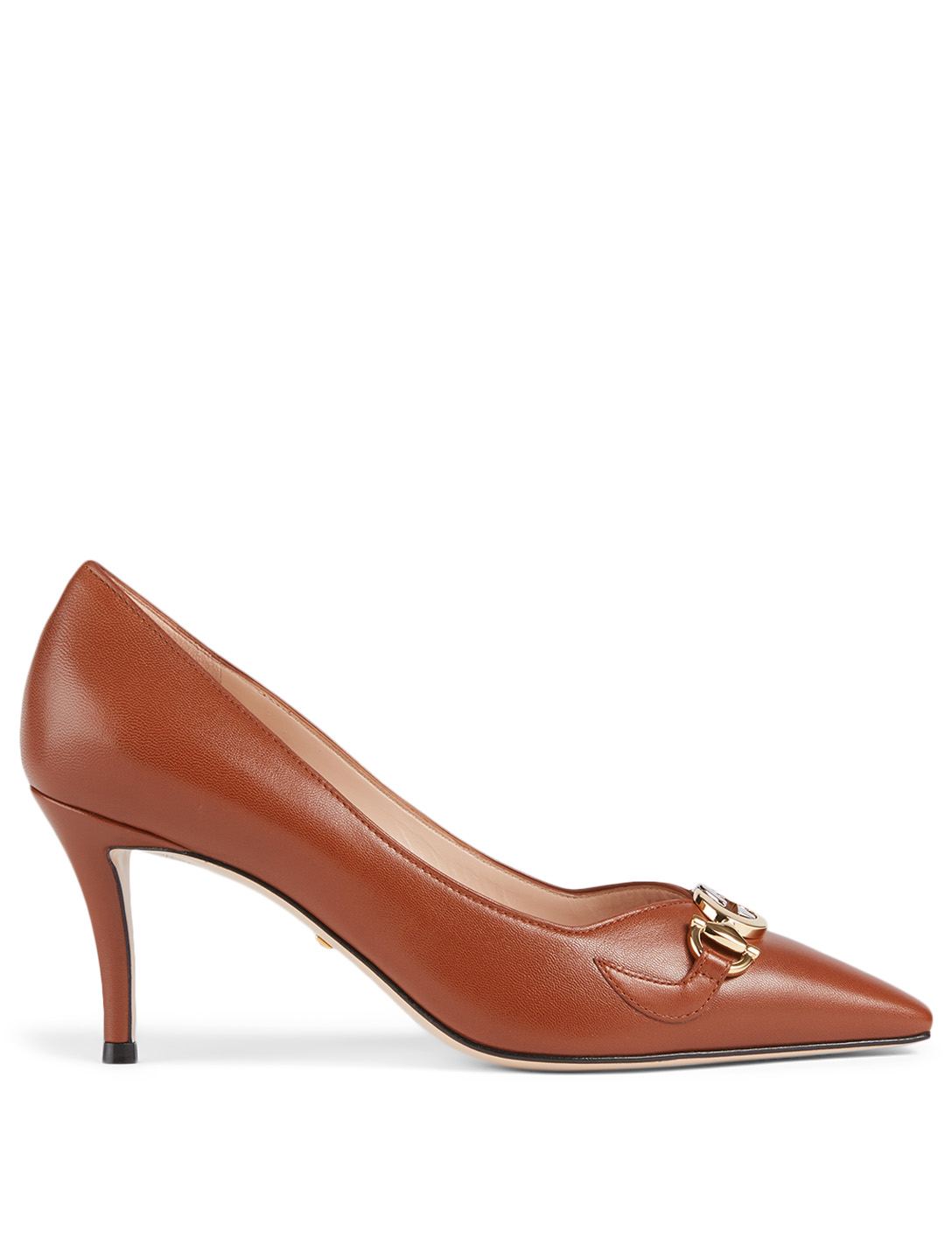 GUCCI Zumi Leather Pumps Women's Red
