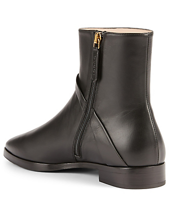 GUCCI Leather Ankle Boots With Double G Women's Black