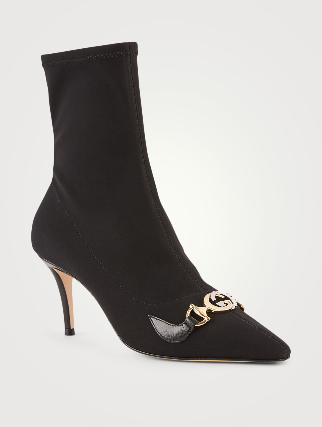 GUCCI Zumi Heeled Sock Ankle Boots Women's Black