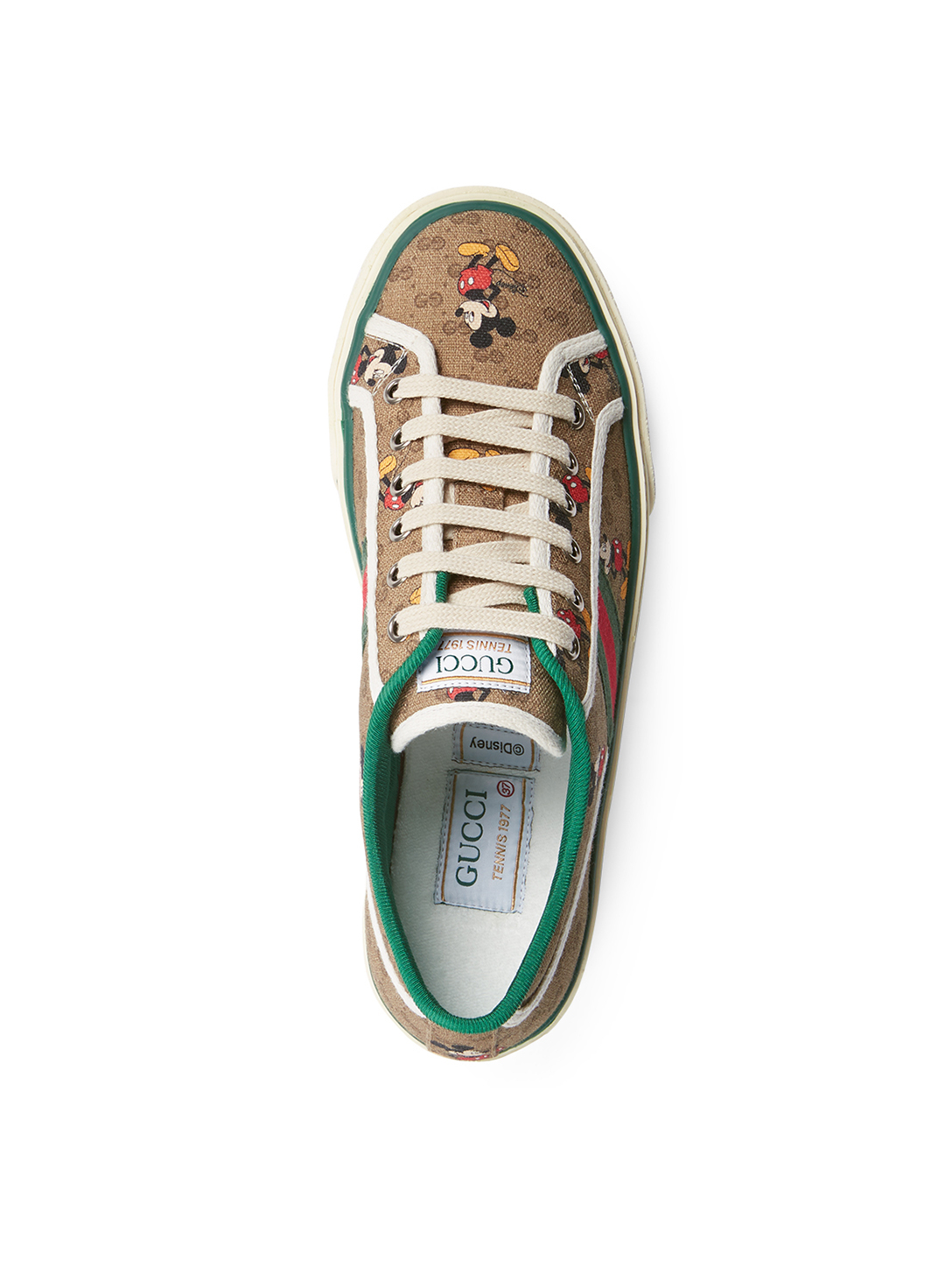 GUCCI Disney X Gucci Tennis 1977 GG Canvas Sneakers With Mickey Mouse Women's Beige