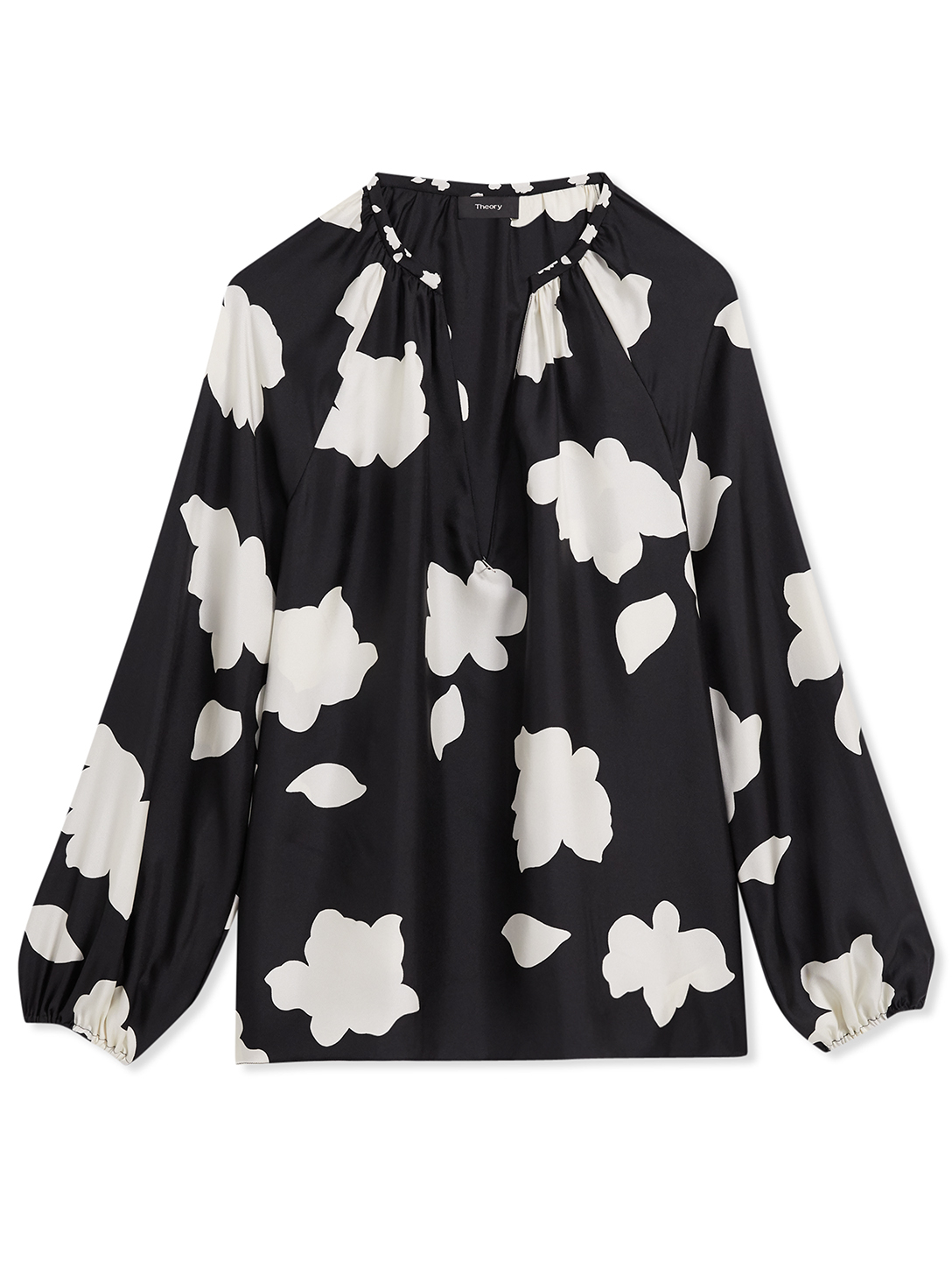 THEORY Silk V-Neck Top In Petal Print Women's Black