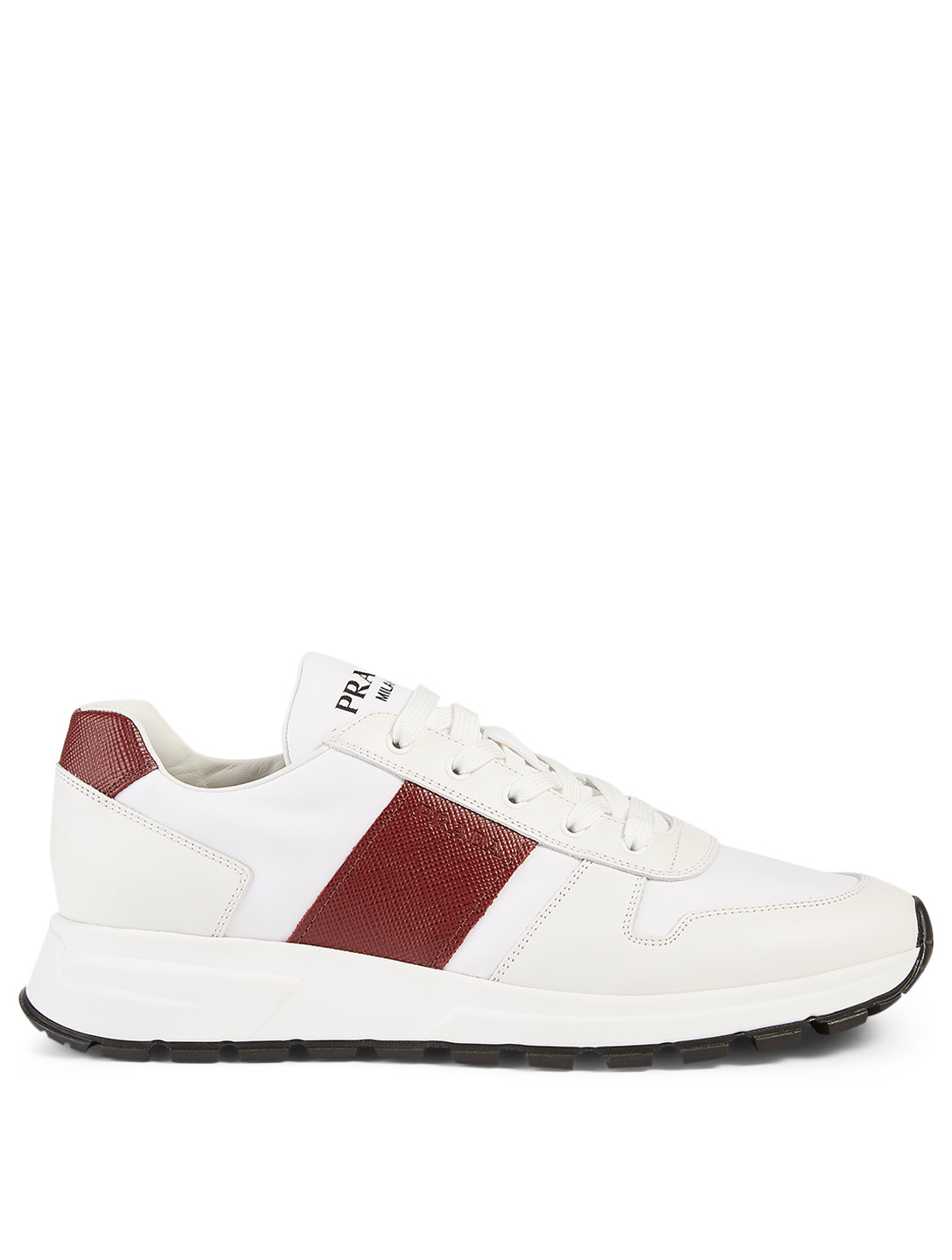 PRADA Nylon And Leather Sneakers Men's White