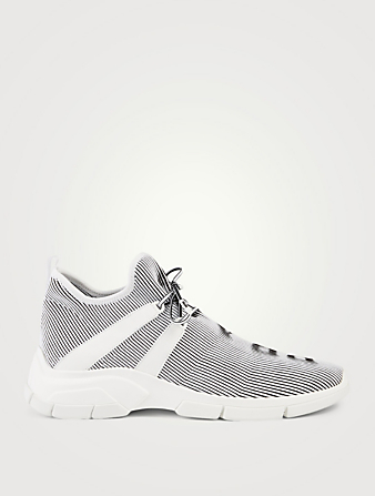 PRADA XY Hologram Knit Logo Sneakers Men's White