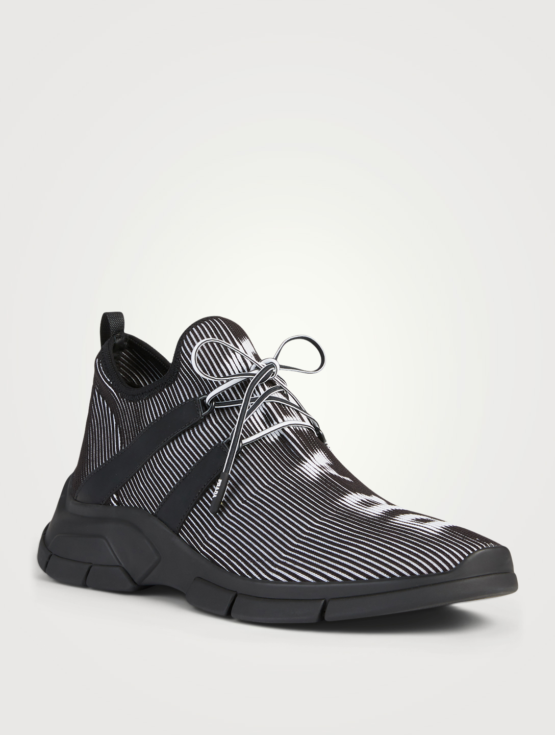 PRADA XY Hologram Knit Logo Sneakers Men's Black