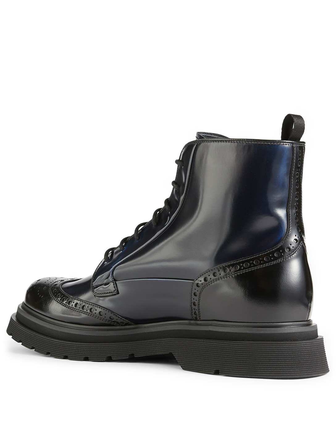 PRADA Spazzolato Fume Leather Brogue Combat Boots Men's Black