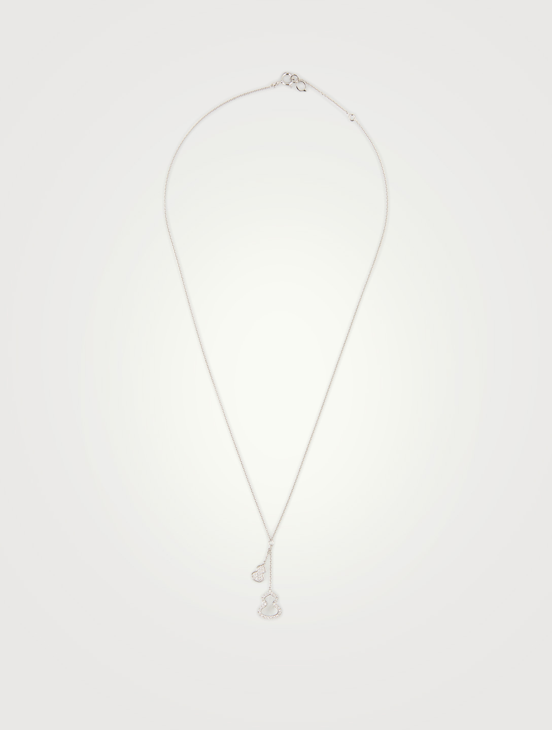 QEELIN Petite Wulu 18K White Gold Necklace With Diamonds And Mother-Of-Pearl Women's Metallic