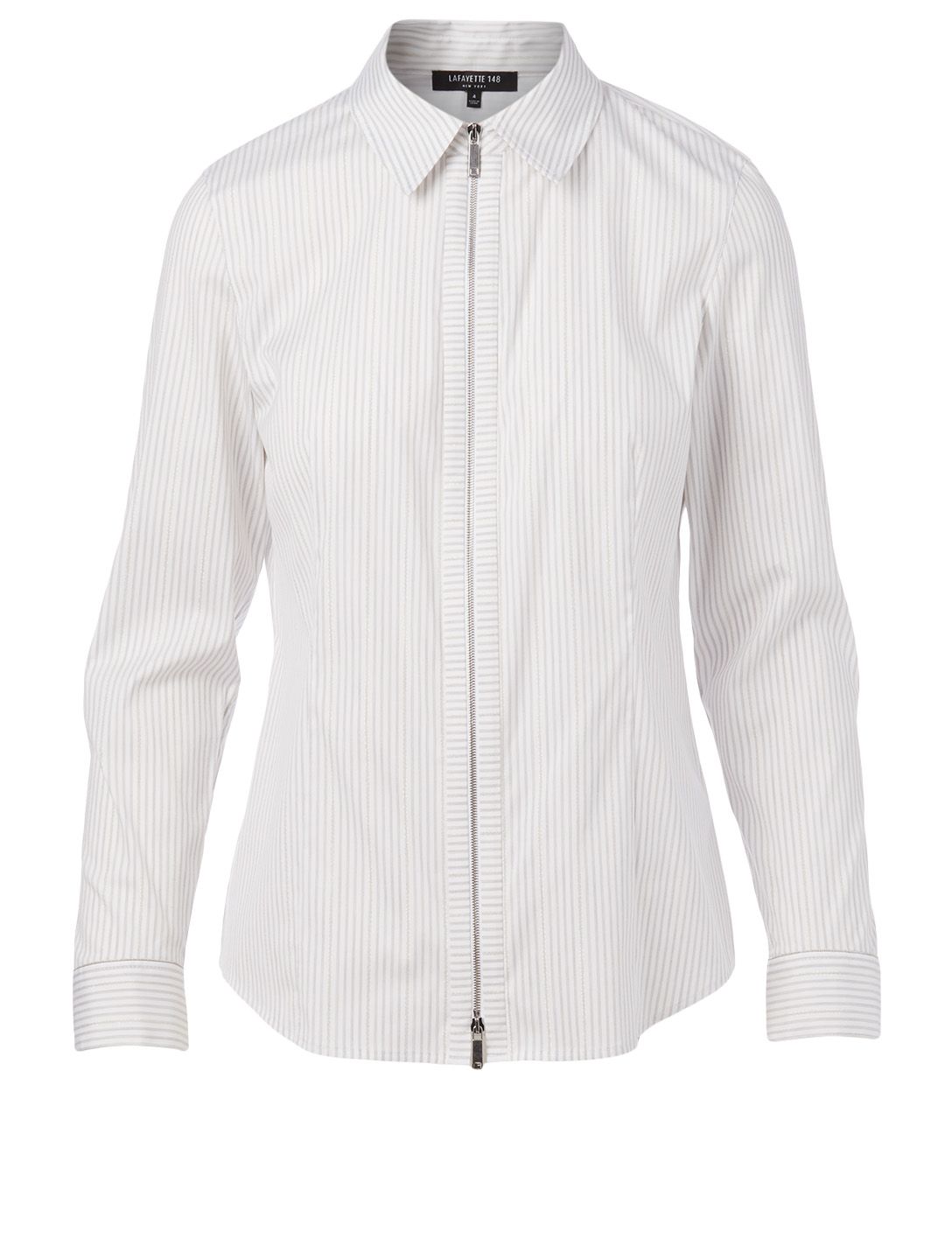 LAFAYETTE 148 NEW YORK Connor Zip Top In Striped Print Women's White