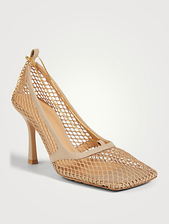 BOTTEGA VENETA Stretch Mesh And Leather Pumps With Chain Women's Beige