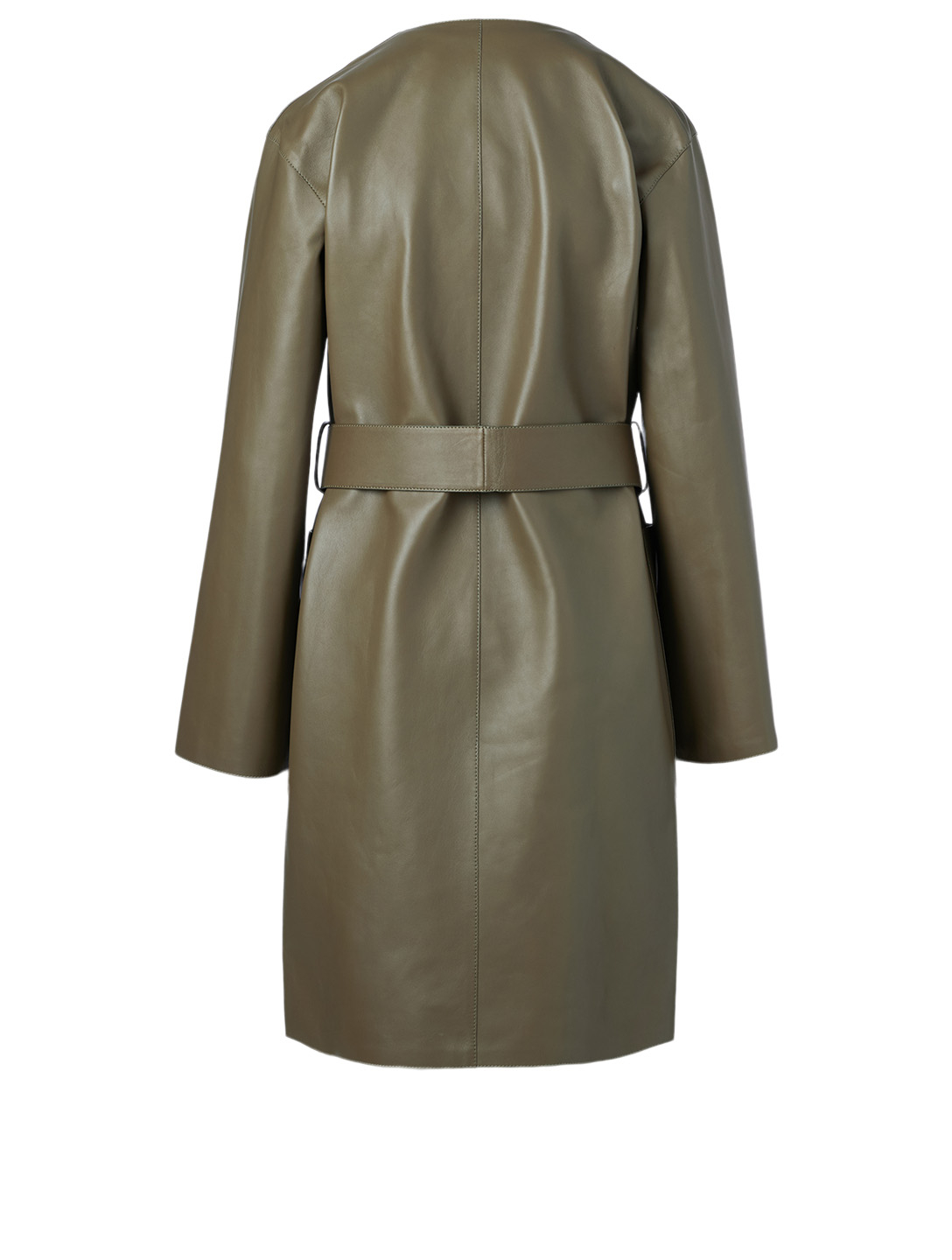 LOEWE Leather Coat With Belt Women's Green