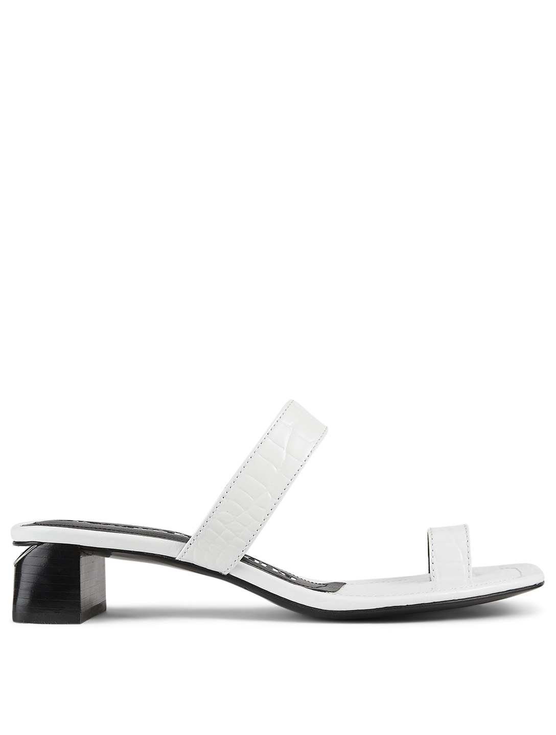 ALEXANDER WANG Ellis Croc-Embossed Leather Heeled Sandals Women's White