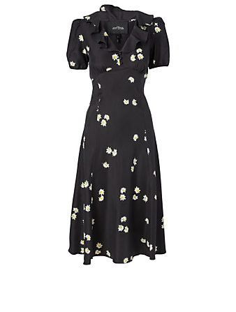 THE MARC JACOBS Silk Midi Dress In Daisy Bloom Print Women's Black