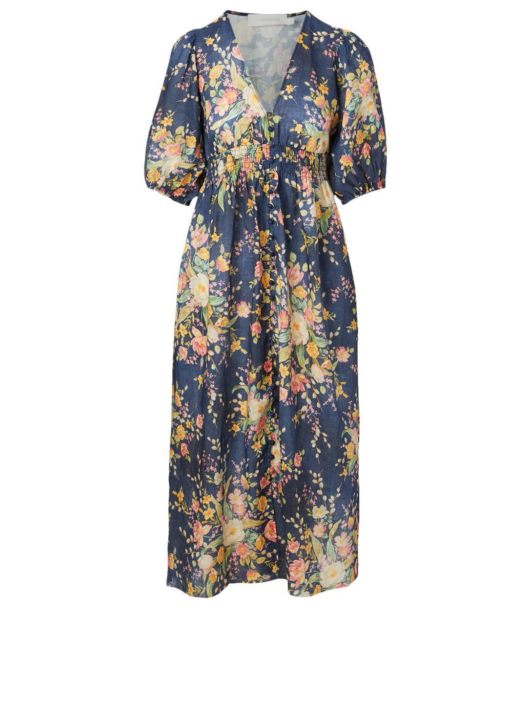 ZIMMERMANN Zinnia Shirred Waist Dress In Floral Print Women's Multi