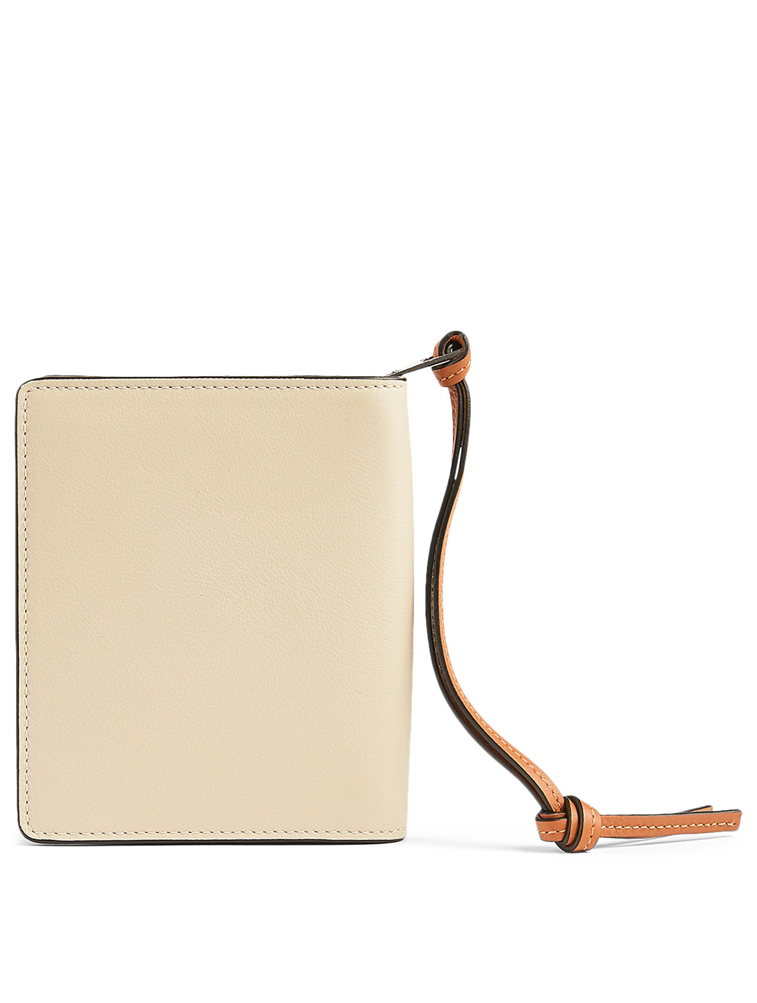 LOEWE Brand Leather Compact Zip Wallet Women's Beige