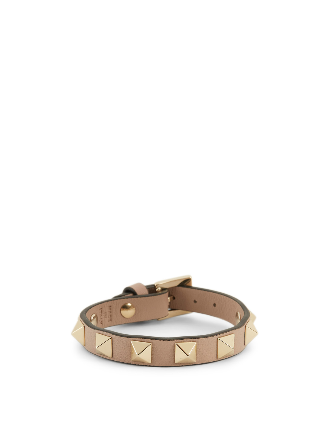 VALENTINO Rockstud Leather Bracelet Women's Metallic
