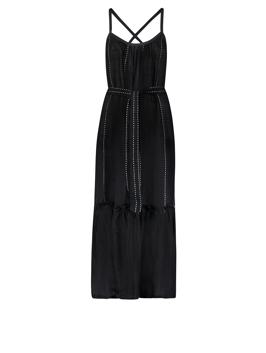 LEMLEM Tikuri Cotton Belted Maxi Sundress H Project Black