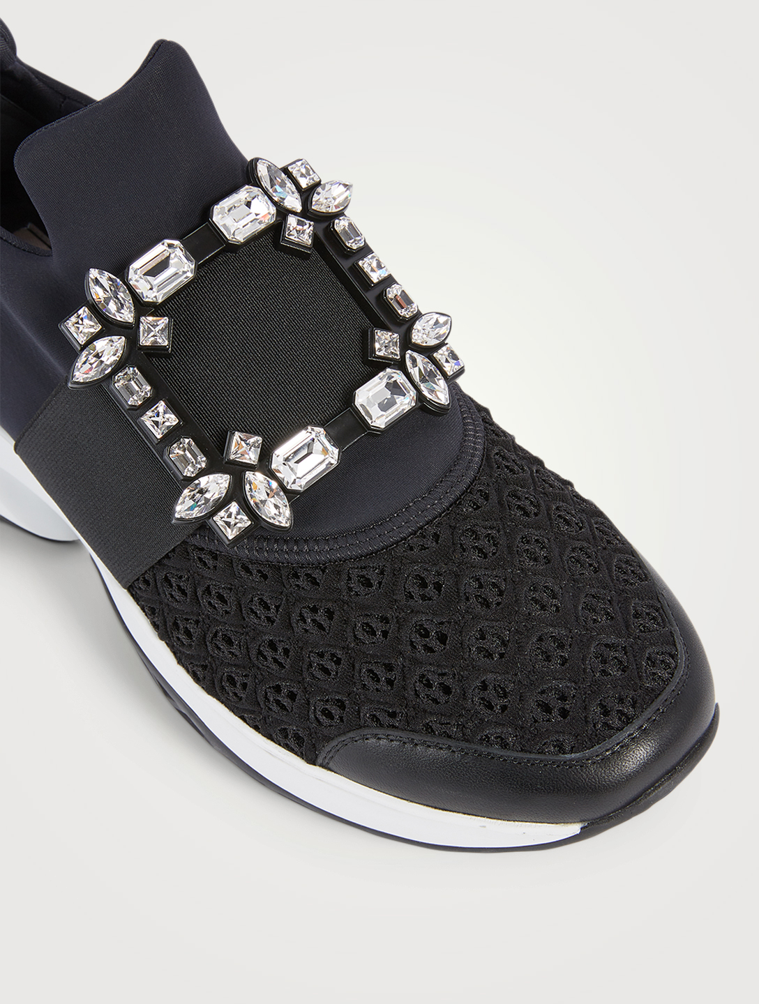 ROGER VIVIER Viv' Run Strass Mesh Neoprene Sneakers Women's Black