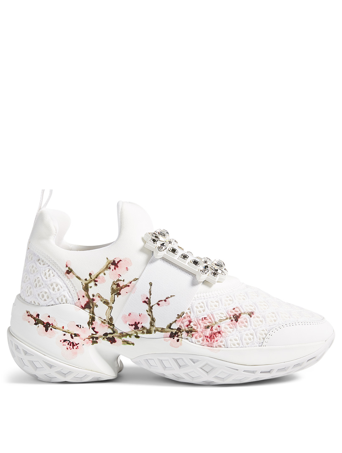 ROGER VIVIER Viv' Run Strass Mesh Neoprene Sneakers With Floral Print Women's White